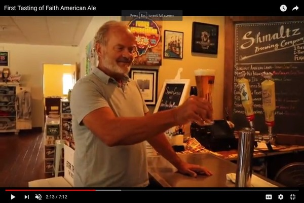 This screen shot is from a  Youtube video about actor Kelsey Grammer's Faith American Brewing Co. in Margaretville, N.Y.  It was shot in the summer of 2017 in the former Shmaltz Brewing Co. in Saratoga County, where a test batch of Faith American beer was produced.