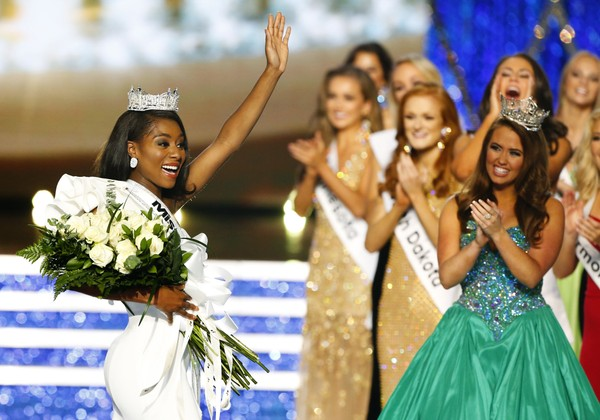 Miss New York Nia Franklin reacts after being named Miss America 2019, Sunday, Sept. 9, 2018, in Atlantic City, N.J. (Noah K. Murray | AP)