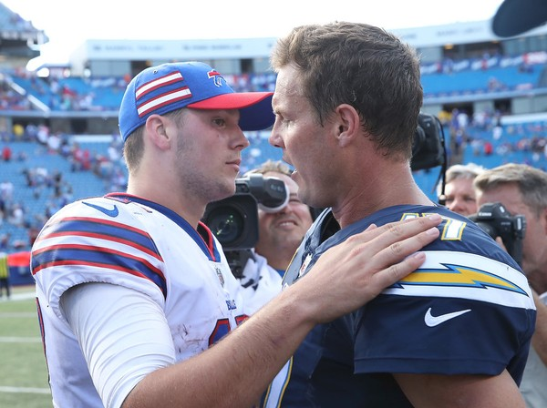 Josh Allen of the Buffalo Bills congratulates Philip Rivers of the Los Angeles Chargers after Sunday's game. The Chargers won, 31-20,