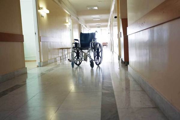 A file photo of a wheelchair in a nursing home
