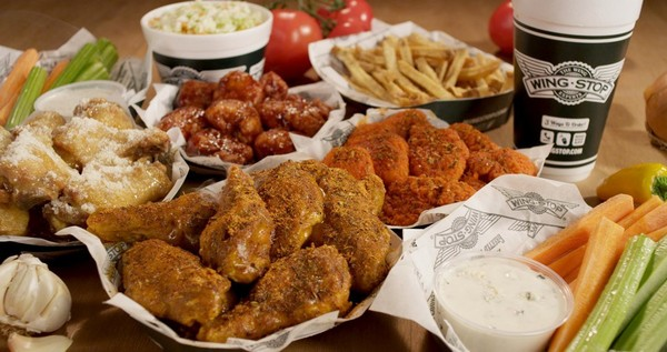 Some selections from Wingstop restaurants.