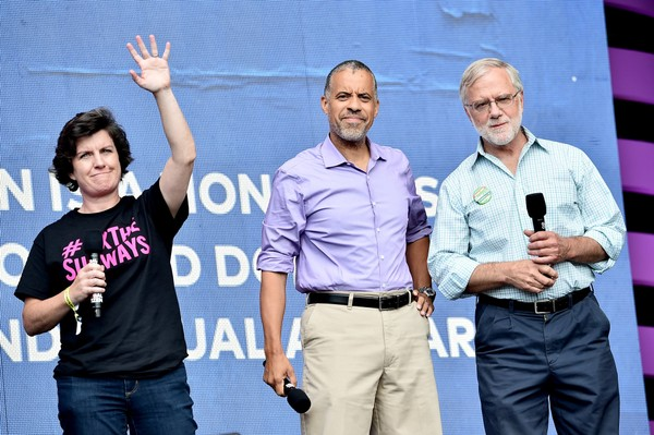 Candidates for New York governor Stephanie Miner, Larry Sharpe and Howie Hawkins speak during the 2018 Global Citizen Festival on Sept. 29, 2018 in New York City.