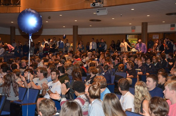 Skaneateles High School students celebrate being named a National Blue Ribbon school.
