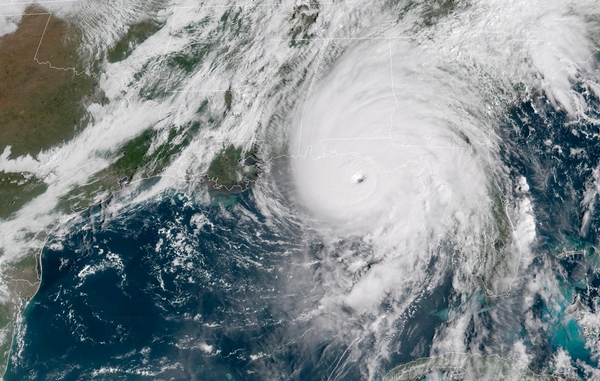The eye of Hurricane Michael shows clearly as it approaches Florida in this Wednesday, October 10, 2018 satellite image.