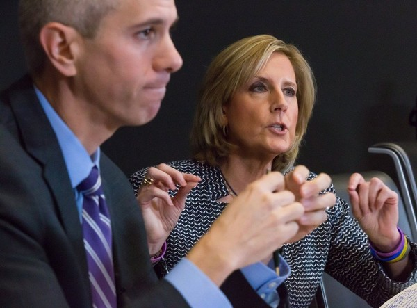 Democratic challenger Anthony Brindisi and Republican Congresswoman Claudia Tenney in Syracuse Oct. 22.