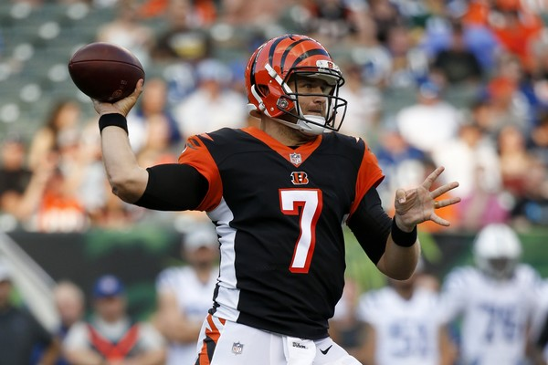 New Buffalo Bills quarterback Matt Barkley went 9 of 16 for 112 yards and one interception against his new team while a member of the Cincinnati Bengals in preseason action. (AP Photo/Frank Victores)