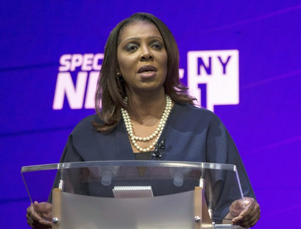 In this Aug. 28, 2018 file photo, Letitia James participates in a debate of Democratic candidates for New York State Attorney General in New York.  (Holly Pickett/The New York Times via AP, Pool)