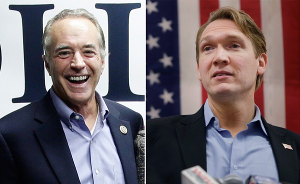 Democrat Nate McMurray, right, is asking for a recount in the race for New York's 27th Congressional District after incumbent Rep. Chris Collins, left, declared victory.(The Associated Press)