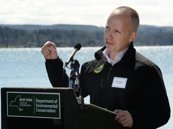 New York State DEC Commissioner Basil Seggos at a 2016 press conference at Shotwell Memorial Park on Skaneateles Lake.