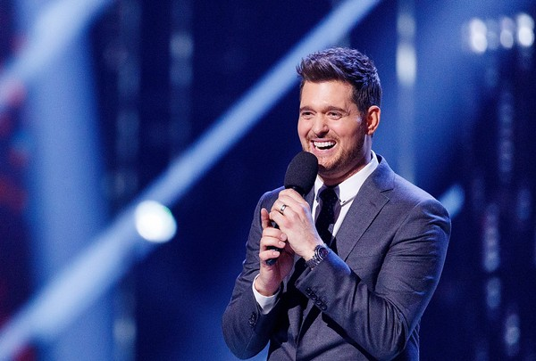 Singer Michael Buble speaks on stage during the 2018 JUNO Awards at Rogers Arena on March 25, 2018 in Vancouver, Canada.