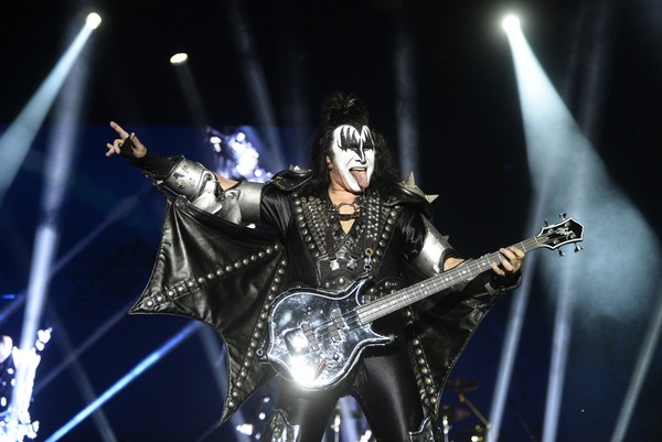 Gene Simmons, member of the hard rock band KISS performs during the Resurrection Fest music festival in Viveiro, northern Spain, on July 14, 2018.