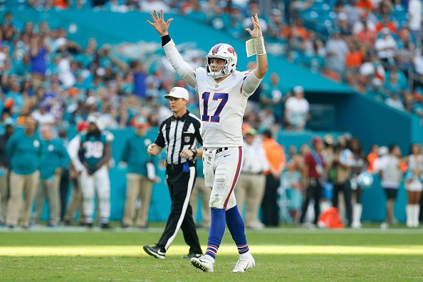MIAMI, FL - DECEMBER 02:  Josh Allen #17 of the Buffalo Bills celebrates after a throwing a touchdown against the Miami Dolphins during the second half at Hard Rock Stadium on December 2, 2018 in Miami, Florida.  (Photo by Michael Reaves/Getty Images)