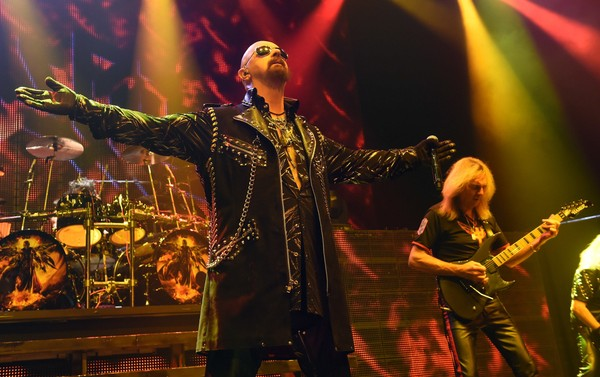 "Singer Rob Halford (L) and guitarist Glenn Tipton of Judas Priest perform at The Pearl concert theater at the Palms Casino Resort as the band tours in support of the album ""Redeemer of Souls"" on November 14, 2014 in Las Vegas, Nevada."
