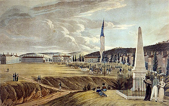 A drawing from 1828 which shows how the campus at the United States Military Academy would have looked on Dec. 25, 1826, the day of the Eggnog Riot. The North Barracks, where the riot took place, is the building at the far left.