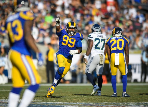 Aaron Donald (99) of the Los Angeles Rams celebrates a sack in the second quarter against the Seattle Seahawks on Nov. 11, 2018 in Los Angeles, California. (John McCoy/Getty Images, File)