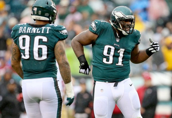 Eagles DT Fletcher Cox (91) celebrates his sack of 49ers QB C.J. Beathard (3) in the second quarter at Lincoln Financial Field in Philadelphia, Sunday, Oct. 29, 2017.