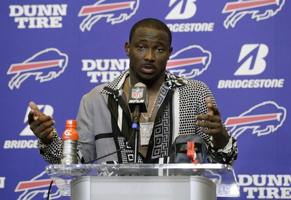 Bills running back LeSean McCoy talks to reporters after an NFL football game against the Denver Broncos, in Orchard Park, N.Y. McCoy says an allegation posted on social media accusing him of bloodying his former girlfriend's face is baseless and false. An Instagram post Tuesday, July 10, 2018, from a person who says she is friends with the woman showed a graphic photo of the former girlfriend and accuses McCoy of physically abusing her, his son and his dog, as well as injecting steroids.