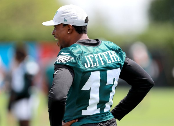 b3577bf5ae7 Eagles WR Alshon Jeffery (17) watches practice during the first day of training  camp