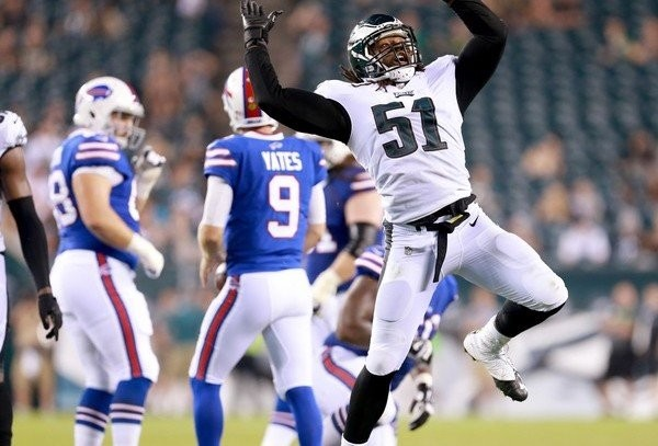 Eagles DE Steven Means (51) celebrates his sack of Bills QB T.J. Yates (9) during the fourth quarter of a preseason game at Lincoln Financial Field, Thursday, Aug. 17, 2017.  (Tim Hawk | For NJ.com)