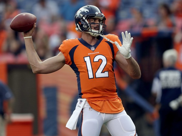 Denver Broncos quarterback Paxton Lynch (12) warms up prior to a preseason NFL football game against the Chicago Bears, Saturday, Aug. 18, 2018, in Denver. (AP Photo/Jack Dempsey) ORG XMIT: COMY AP (Jack Dempsey | AP)