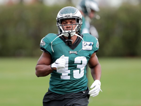 Eagles RB Darren Sproles (43) warms up during practice at the NovaCare Complex in Philadelphia, Wednesday, Nov. 7, 2018. The Eagles host the Cowboys Sunday night.  (Tim Hawk | NJ Advance Media for )