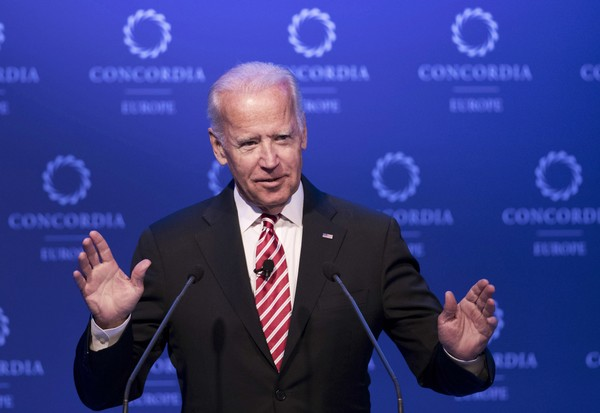 In this June 7, 2017, file photo, former U.S. Vice President Joe Biden speaks during a conference in Athens. (AP Photo/Petros Giannakouris)