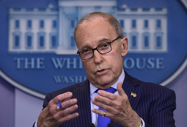 In this June 6, 2018, photo, Senior White House economic adviser Larry Kudlow speaks during a briefing at the White House in Washington.