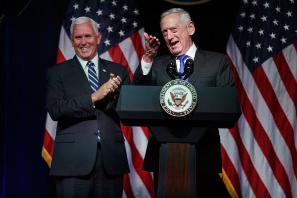 Secretary of Defense Jim Mattis introduces Vice President Mike Pence during an event on the creation of a United States Space Force, Thursday, Aug. 9, 2018, at the Pentagon.  (AP Photo/Evan Vucci)