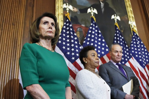 Rep. John Yarmuth, D-Ky., right, with, from left, House Minority Leader Nancy Pelosi of Calif.; Rep. Barbara Lee, D-Calif. and Senate Minority Leader Chuck Schumer of N.Y. speaks to reporters about President Donald Trump's first 100 days, during a news conference on Capitol Hill in Washington, Friday, April 28, 2017. (AP Photo/Manuel Balce Ceneta)(Manuel Balce Ceneta)