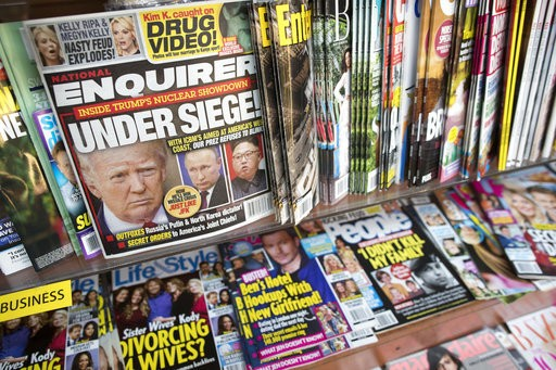 An issue of the National Enquirer featuring President Donald Trump on it's cover is seen at a store in New York.
