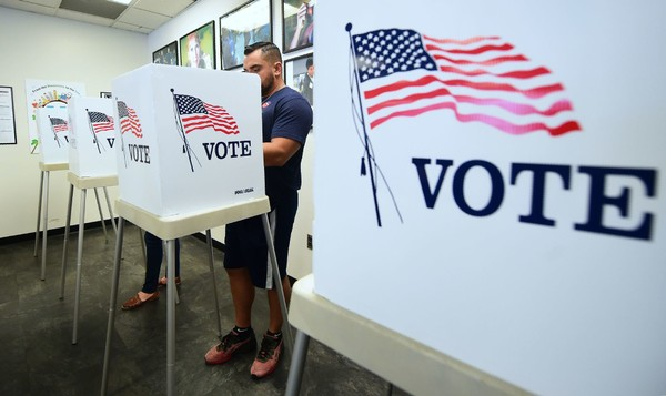 Voters cast their ballots for Early Voting at the Los Angeles County Registrar's Office in Norwalk, California, on Nov. 5, 2018, a day ahead the midterm elections. (Frederic J. Brown/AFP/Getty Images)