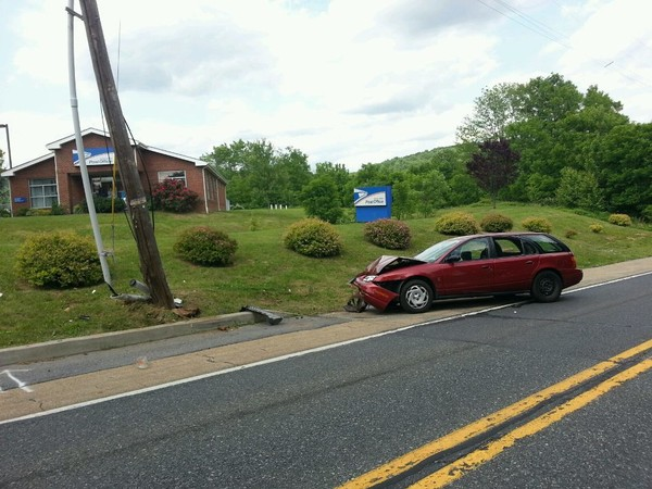 A vehicle crashed into a utility pole June 7, 2018, on Route 57 in Greenwich Township. (Rich Maxwell | lehighvalleylive.com contributor)