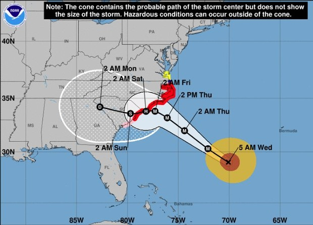 Hurricane Florence Track Path Update Cone Wednesday Morning