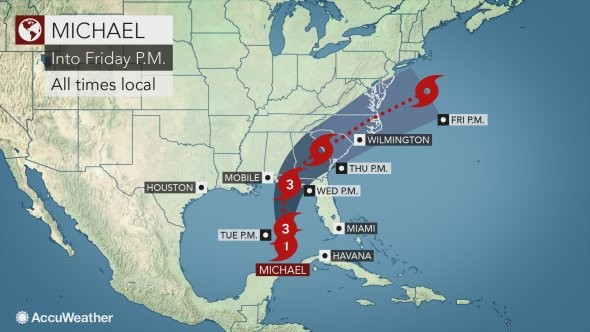 Hurricane Michael Latest Track For Massive Storm Targets Florida As