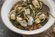 Soy chorizo teams up with clams, kale to create soup with big flavor