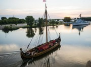 Viking ship from Norway heading down Erie Canal
