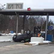 Man high on marijuana flips car at Thruway toll booth at Verona, police say