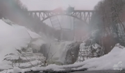 WATCH: 60-ton piece of bridge at Letchworth State Park plunges into Genesee river