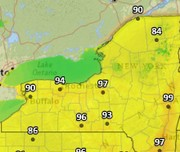 It could feel like almost 100 degrees in Upstate NY on Monday