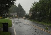 Downed pole closes road in Mansfield Township