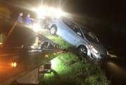 A car sank in a fish hatchery and the driver sat on top awaiting rescue. She's now charged with DWI.