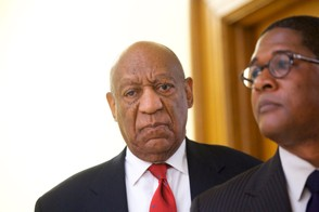 Actor and comedian Bill Cosby reacts while being notified a verdict was in in his sexual assault retrial, Thursday, April, 26, 2018, at the Montgomery County Courthouse in Norristown, Pa. (Mark Makela/Pool Photo via AP)