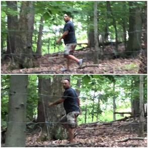 Police in Bucks County released these photos reportedly shot by a hunter, and say they show 47-year-old David A. Hamilton Jr., of Lower Southampton Township, walking through a wooded area Sept. 21, 2018, after struggling with a New Hope police office and trying to take his weapon. Hamilton is wanted for sex offenses against children, authorities said. (Courtesy photos | For NJ Advance Media)