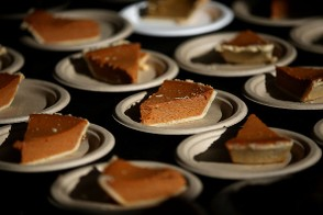 Slices of pumpkin pie sit on a table during the Great Thanksgiving Banquet hosted by the Bay Area Rescue Mission on November 25, 2015 in Richmond, California. Hundreds of homeless and needy people were given a free meal a day before Thanksgiving. (Photo by Justin Sullivan/Getty Images)