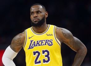 Los Angeles Lakers forward LeBron James is shown during the second half of an NBA basketball game against the Atlanta Hawks Tuesday, Feb. 12, 2019, in Atlanta. The Hawks won 117-113. (AP Photo/John Bazemore)