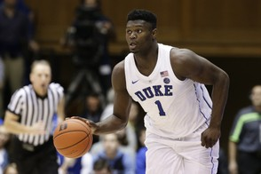 Duke's Zion Williamson dribbles against Eastern Michigan during the second half of an NCAA college basketball game in Durham, N.C., Wednesday, Nov. 14, 2018. (AP Photo/Gerry Broome)