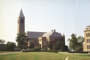 The McGraw Tower and Uris Library are pictured on the campus of Cornell University, Ithaca, NY, in this AP file photo.