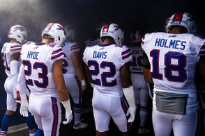 ORCHARD PARK, NY - SEPTEMBER 16: Buffalo Bills players enter the stadium before the game against the Los Angeles Chargers at New Era Field on September 16, 2018 in Orchard Park, New York. Los Angeles defeats Buffalo 31-20. (Photo by Brett Carlsen/Getty Images)