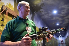 George Karalinas of Bass Pro Shops explains the Carbon Express X-Force Blade + crossbow during an introduction to crossbows at Bass Pro Shops, Auburn, NY