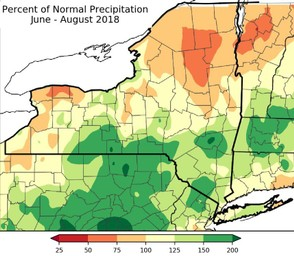 Heavy rain is forecast this week in Upstate New York. This map estimates rainfall through 8 p.m. Wednesday.